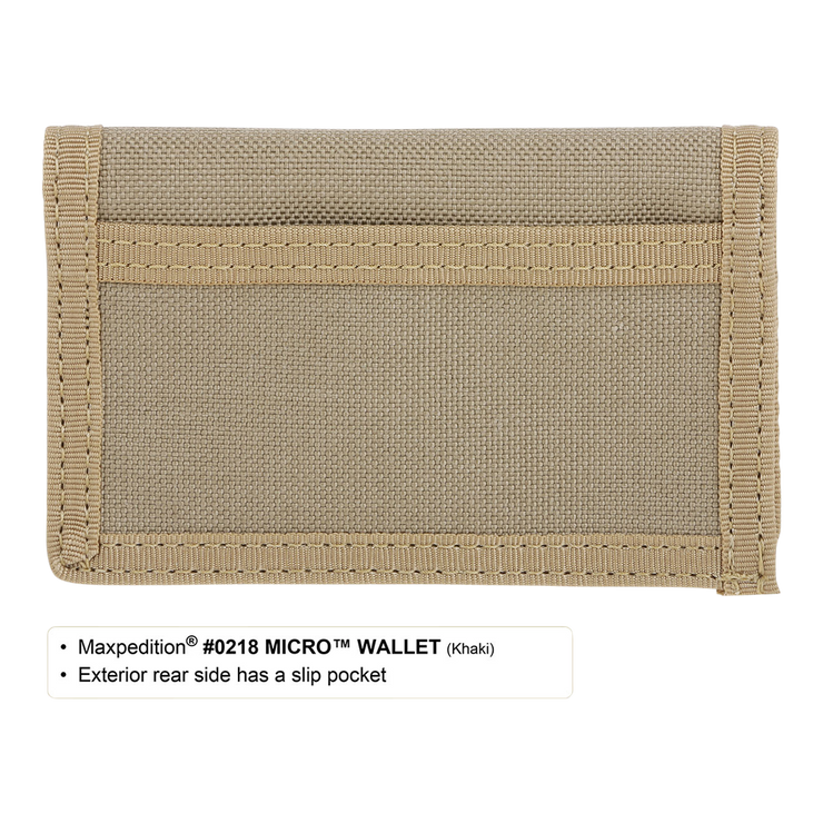 Maxpedition Micro Wallet (Khaki) - Back View