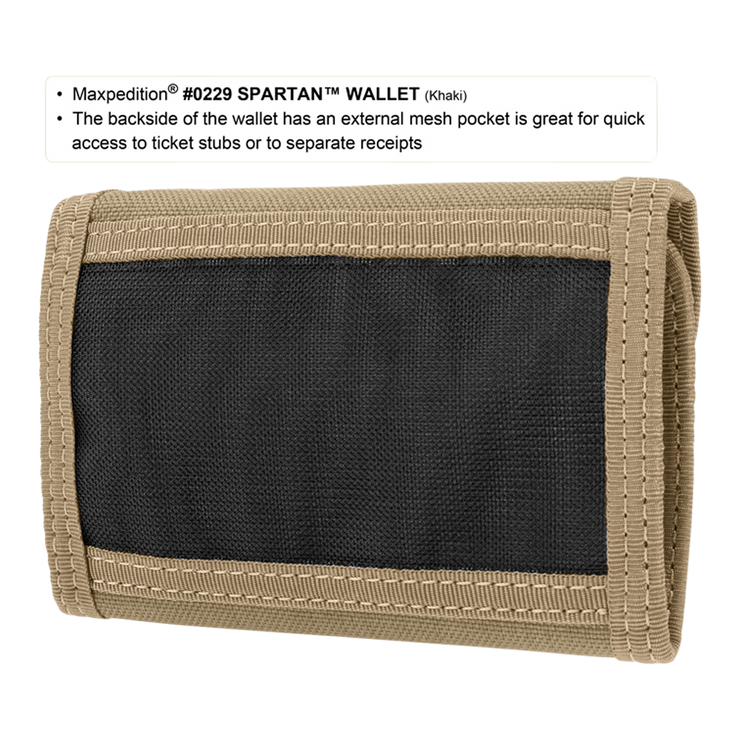 Maxpedition Spartan Wallet (Khaki) - Back View