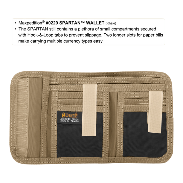 Maxpedition Spartan Wallet (Khaki) - Hook & Loop Tabs