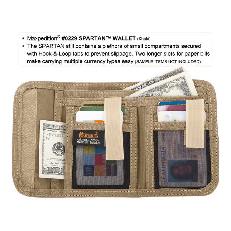 Maxpedition Spartan Wallet (Khaki) - Cash & Cards