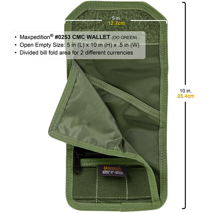 Maxpedition C.M.C. Wallet (OD Green) - Open View