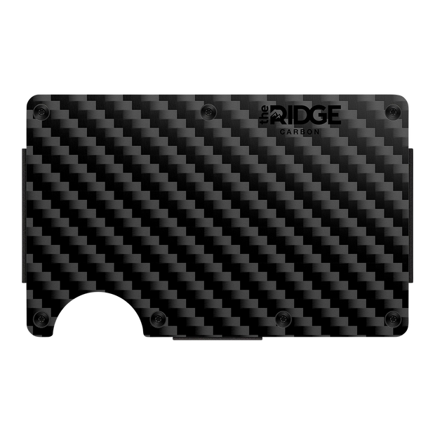 The Ridge Carbon Fibre 3K Money Clip Wallet - Front View