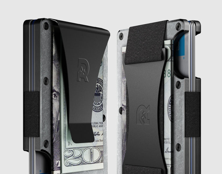 The Ridge Titanium Money Clip Wallet (Stonewashed) - Cash Strap & Money Clip