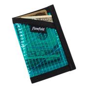 Flowfold Recycled Sailcloth Minimalist Wallet (Cyan) - Cash & Card