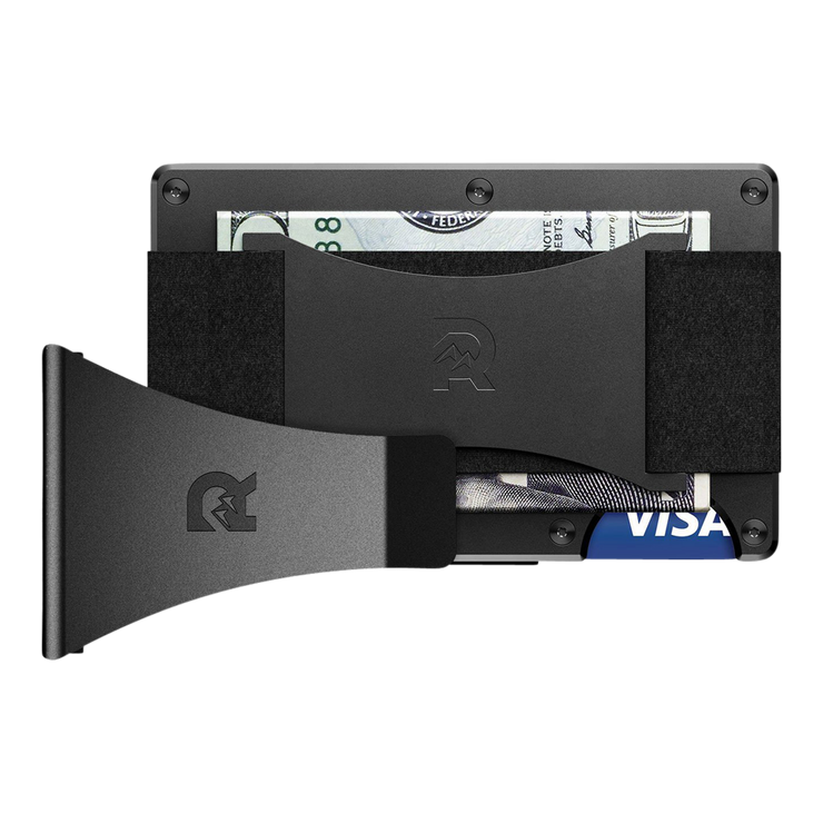The Ridge Aluminium Cash Strap & Money Clip Wallet (Black) - Bundle View