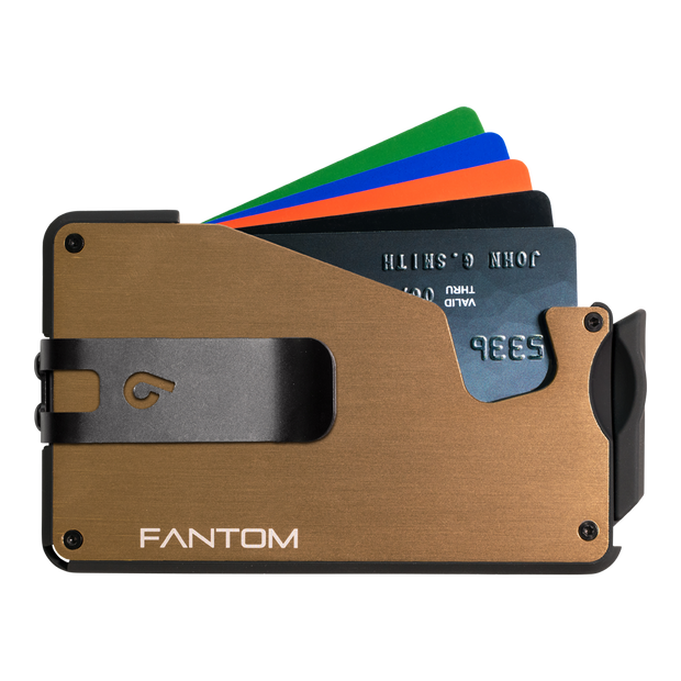 Fantom S 10 Coin Holder Aluminium Wallet (Gold) - Black Money Clip