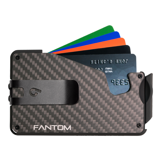 Fantom S 13 Regular Carbon Fibre Wallet - Black Money Clip