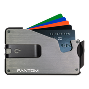 Fantom S 13 Coin Holder Aluminium Wallet (Silver) - Black Money Clip