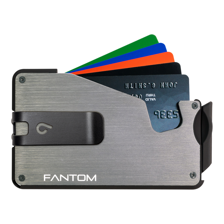 Fantom S 10 Coin Holder Aluminium Wallet (Silver) - Black Money Clip