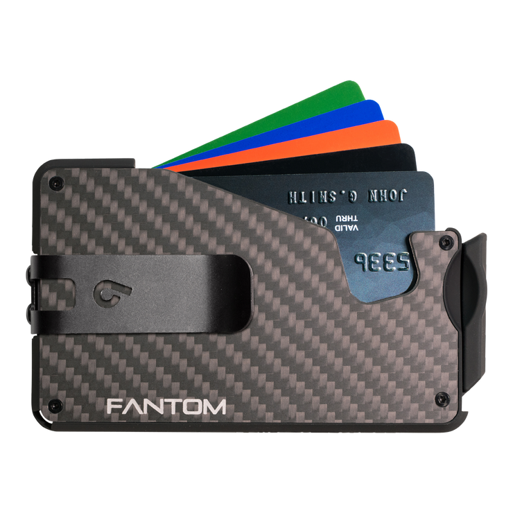 Fantom S 7 Regular Carbon Fibre Wallet - Black Money Clip