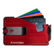 Fantom S 10 Coin Holder Aluminium Wallet (Red) - Black Money Clip