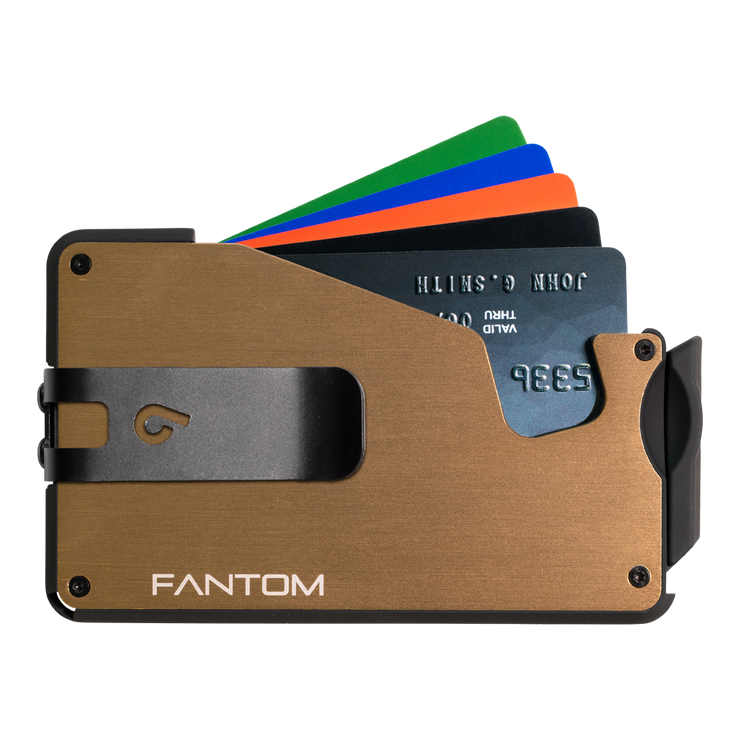 Fantom S 10 Regular Aluminium Wallet (Gold) - Black Money Clip