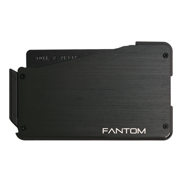 Fantom S 10 Regular Aluminium Wallet (Black) - Back View