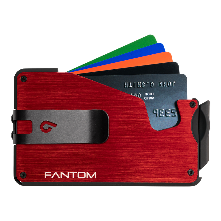 Fantom S 13 Regular Aluminium Wallet (Red) - Black Money Clip