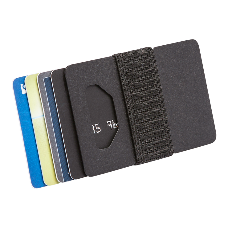 Spine Titanium Minimalist Wallet (Black) - Cards Fanned