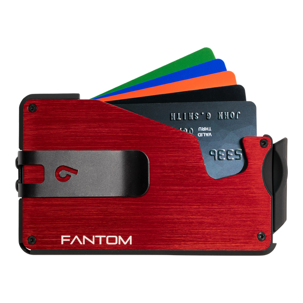 Fantom S 7 Coin Holder Aluminium Wallet (Red) - Black Money Clip
