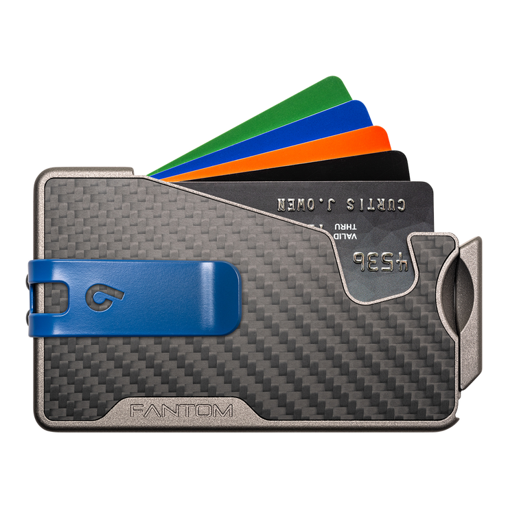 Fantom R 7 Carbon Fibre Wallet - Blue Money Clip
