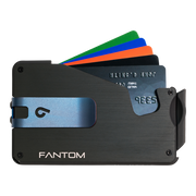 Fantom S 13 Regular Aluminium Wallet (Black) - Blue Money Clip