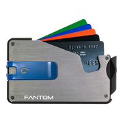Fantom S 7 Regular Aluminium Wallet (Silver) - Blue Money Clip