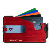 Fantom S 13 Regular Aluminium Wallet (Red) - Blue Money Clip