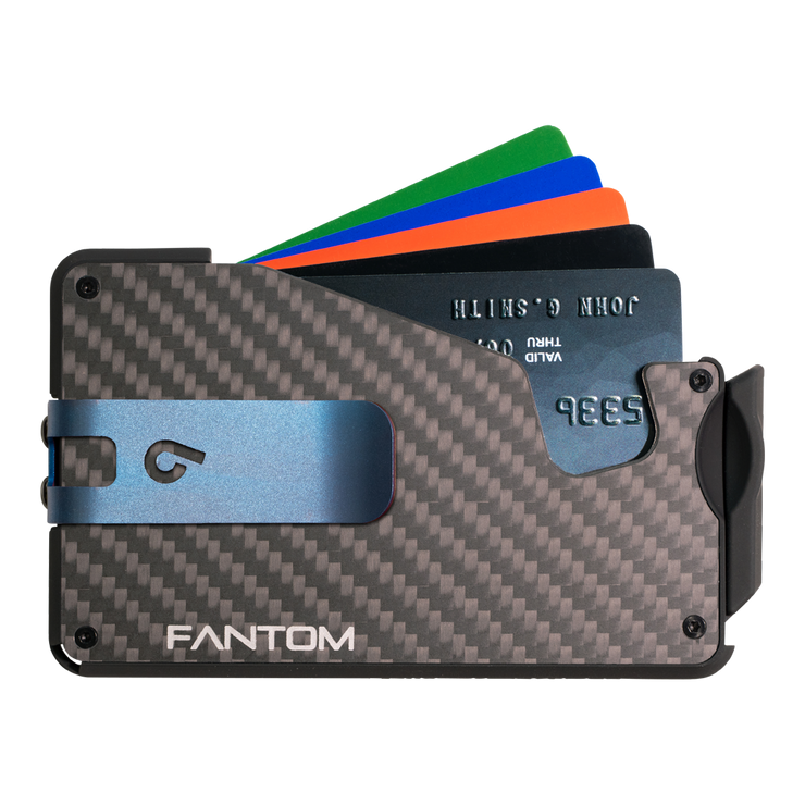 Fantom S 7 Coin Holder Carbon Fibre Wallet - Blue Money Clip