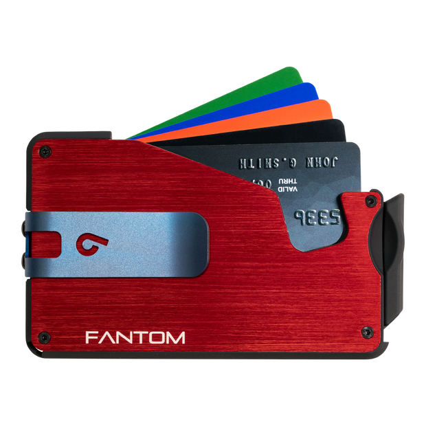 Fantom S 10 Coin Holder Aluminium Wallet (Red) - Blue Money Clip