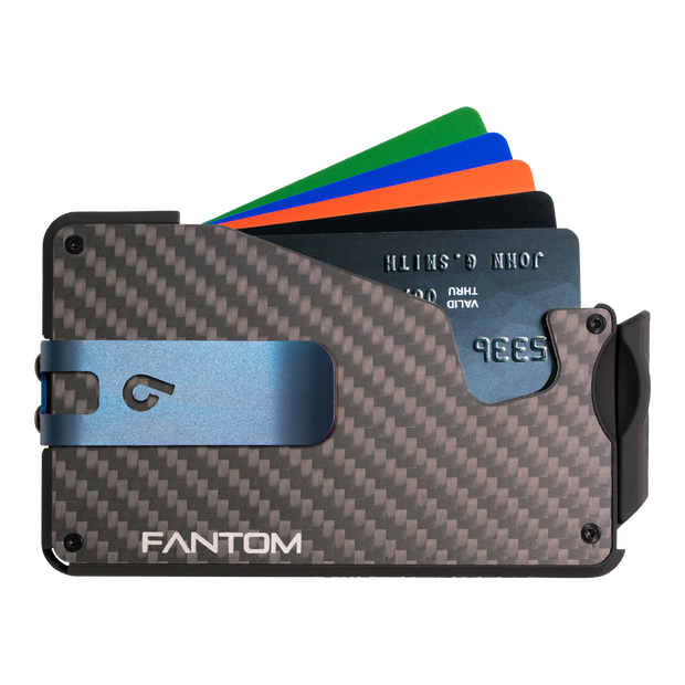 Fantom S 10 Coin Holder Carbon Fibre Wallet - Blue Money Clip