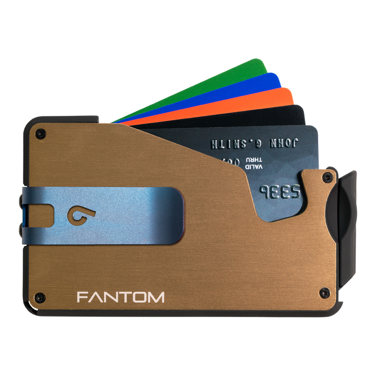 Fantom S 13 Regular Aluminium Wallet (Gold) - Blue Money Clip