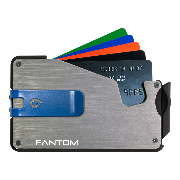 Fantom S 10 Coin Holder Aluminium Wallet (Silver) - Blue Money Clip