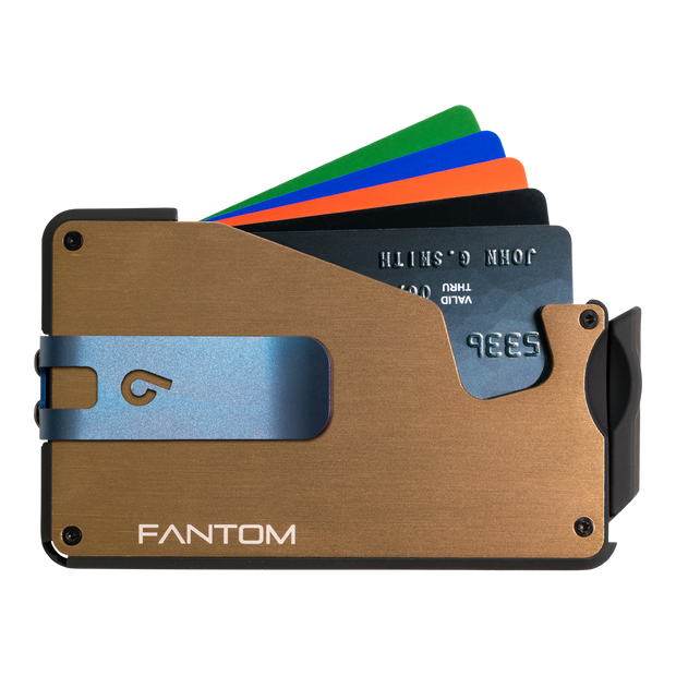 Fantom S 10 Coin Holder Aluminium Wallet (Gold) - Blue Money Clip