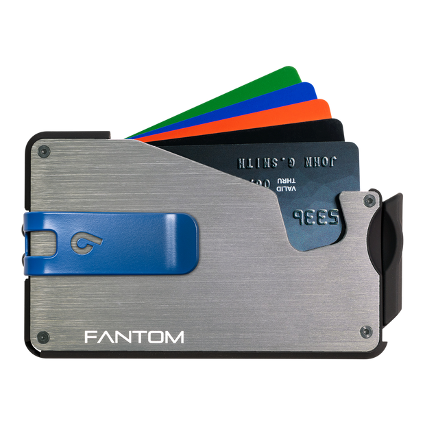 Fantom S 7 Coin Holder Aluminium Wallet (Silver) - Blue Money Clip