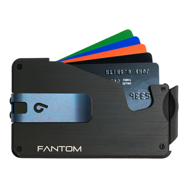 Fantom S 7 Regular Aluminium Wallet (Black) - Blue Money Clip