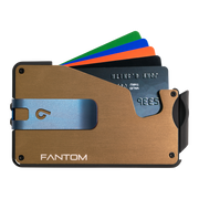 Fantom S 10 Regular Aluminium Wallet (Gold) - Blue Money Clip