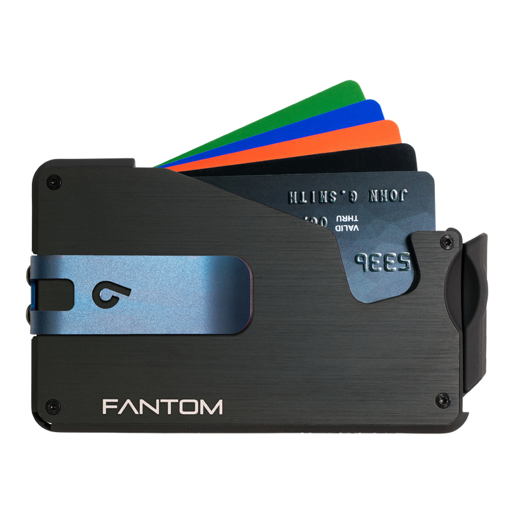 Fantom S 10 Coin Holder Aluminium Wallet (Black) - Blue Money Clip