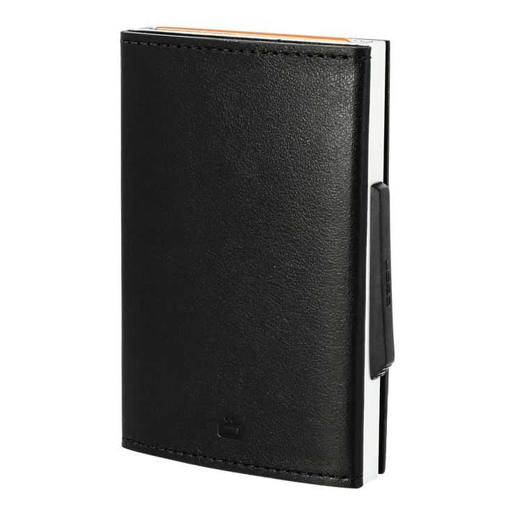 Ögon Cascade Italian Leather & Aluminium Wallet (Black/Silver) - Angled View