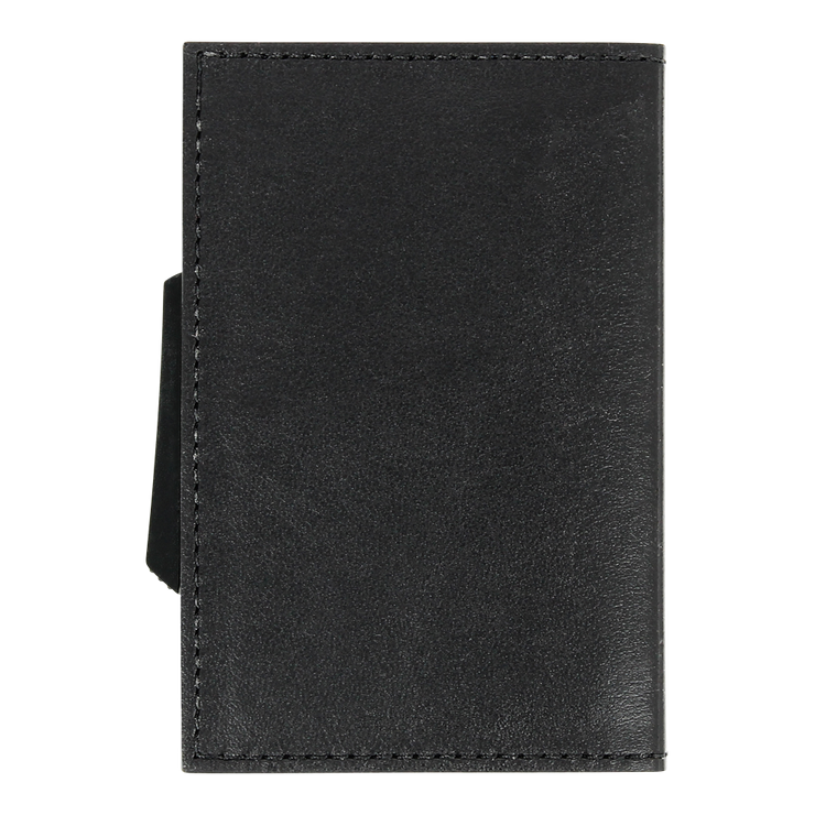 Ögon Cascade Italian Leather & Aluminium Wallet (Black/Silver) - Front View