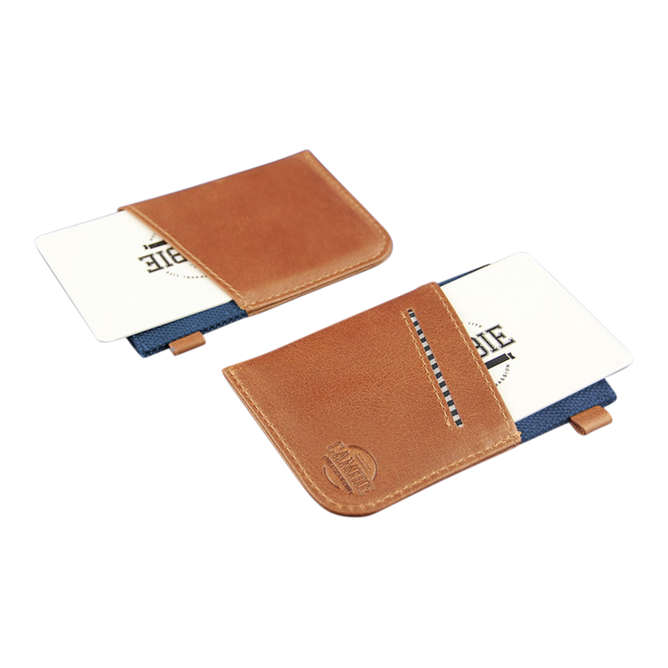 Loft of Cambie Wolyt Sleeve with RFID Shield (Cobalt/Brown) - Card Slot