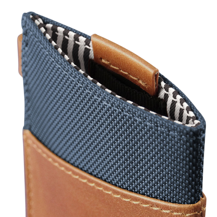 Loft of Cambie Wolyt Sleeve with RFID Shield (Cobalt/Brown) - Pull Tab