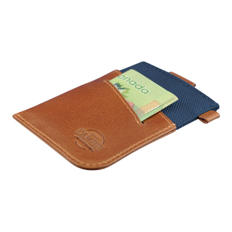 Loft of Cambie Wolyt Sleeve with RFID Shield (Cobalt/Brown) - Cash Slot