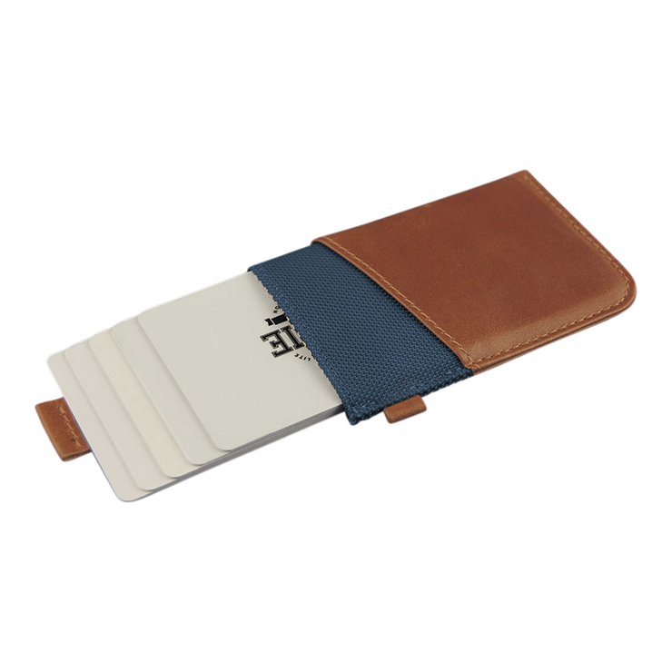 Loft of Cambie Wolyt Sleeve with RFID Shield (Cobalt/Brown) - Cards Fanned
