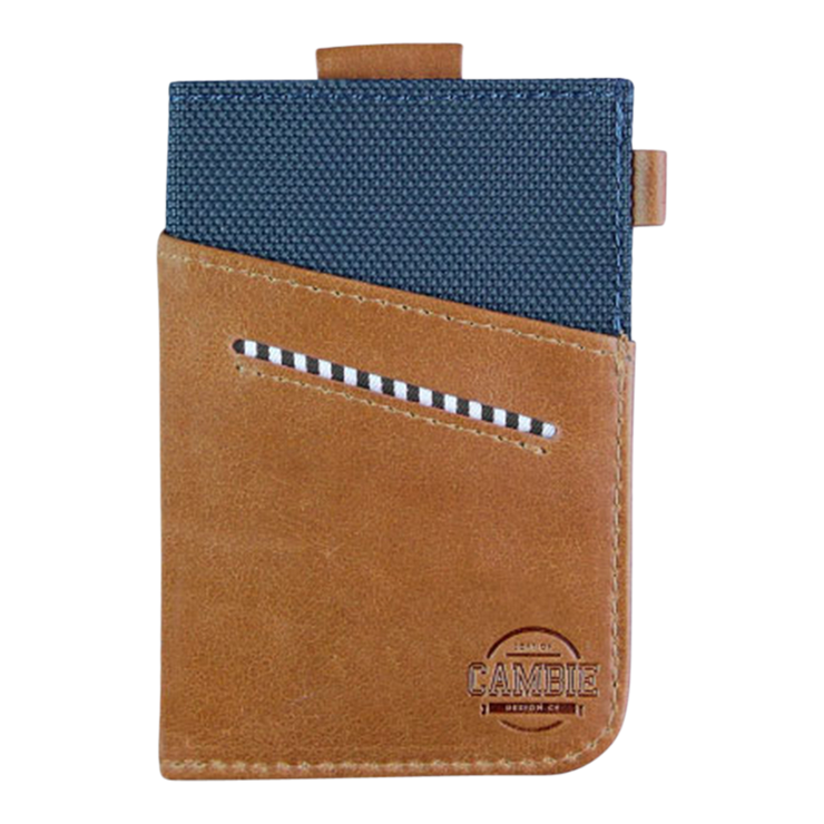 Loft of Cambie Wolyt Sleeve with RFID Shield (Cobalt/Brown) - Front View