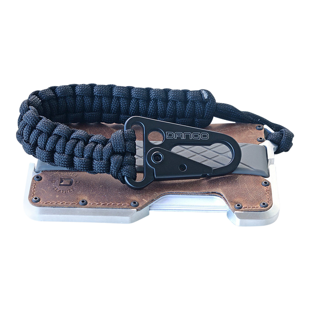 Dango T01t Tactical Wallet Bundle (Brown Raw Hide) - Jet Black Tether Close Up