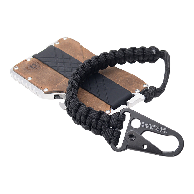 Dango T01t Tactical Wallet Bundle (Brown Raw Hide) - Jet Black Cobra Weave 550 Paracord