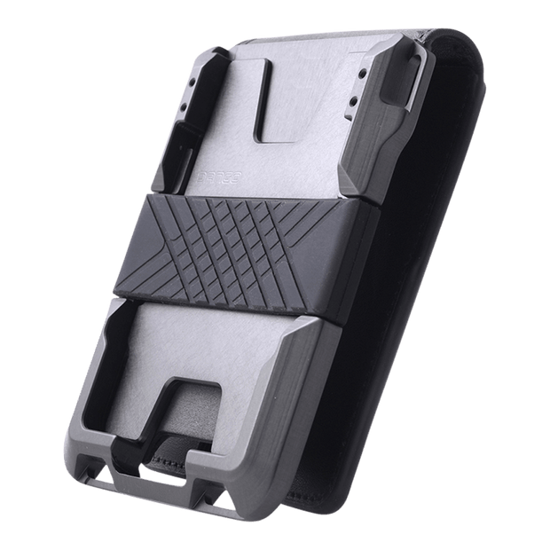 Dango M1 Maverick 4 Pocket Bifold Wallet (Jet Black/Slate Grey) - Anodised Aluminium Chassis