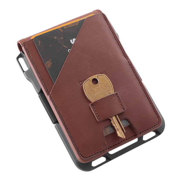 Dango M1 Maverick 4 Pocket Bifold Wallet (Whiskey Brown/Slate Grey) - Integrated Key Loop