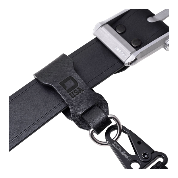 Dango Leather Belt Fob (Jet Black) - In Use