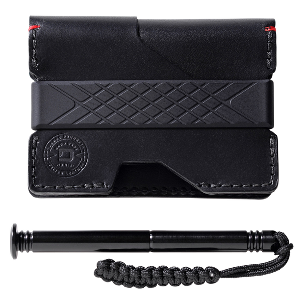 Dango P01 Pioneer Wallet & Dango Pen (Jet Black) - Italian Leather