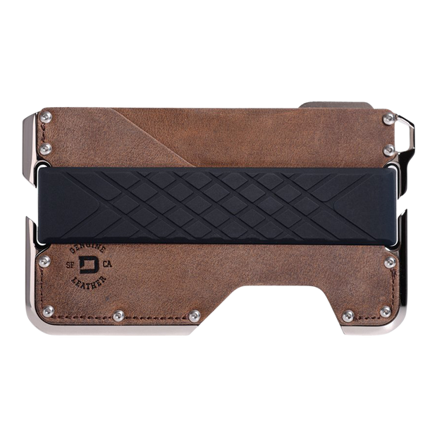 Dango D02 Nickel Plated Dapper Wallet (Brown Raw Hide) - Front View
