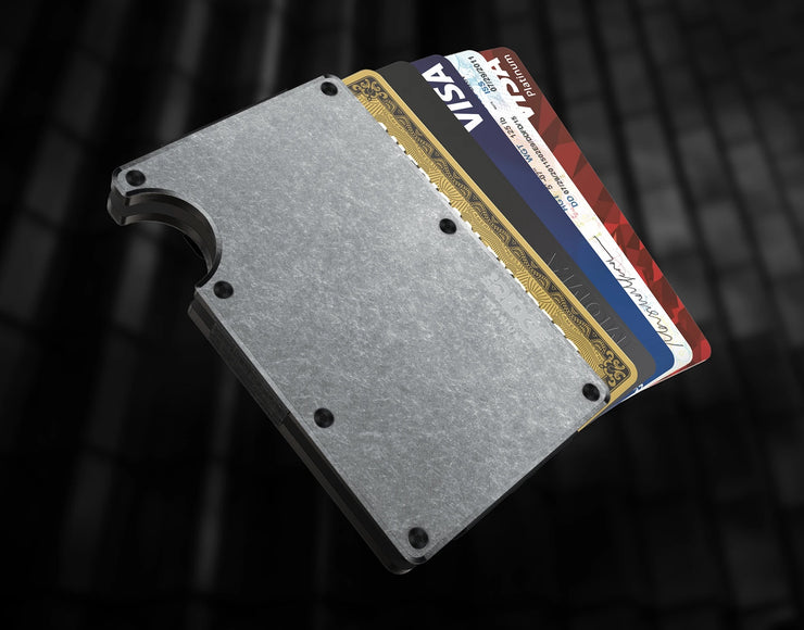 The Ridge Titanium Money Clip Wallet (Stonewashed) - Cards Fanned