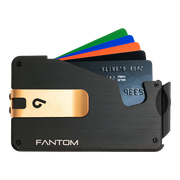 Fantom S 13 Coin Holder Aluminium Wallet (Black) - Gold Money Clip